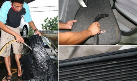 gambar menunjukkan langkah-langkah membersihkan karpet mobil