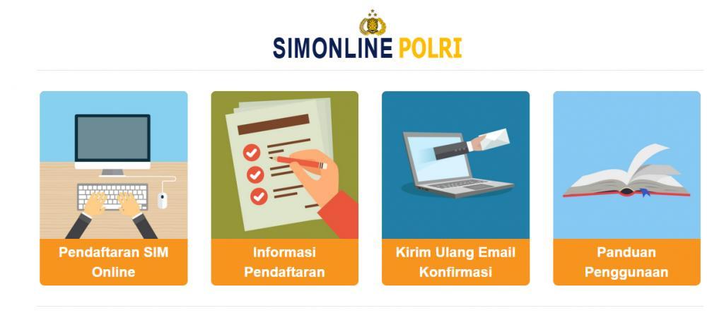 Empat menu yang tersedia setelah membuka situs http://sim.korlantas.polri.go.id