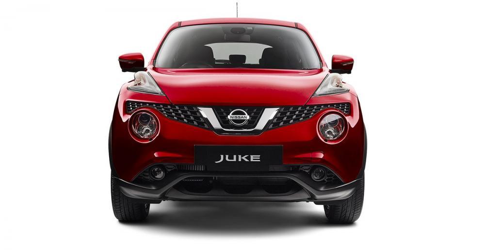 Gmabar mobil Nissan Juke 2017 berwarna merah dilihat dari depan