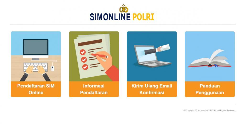 Gambar beranda situs memperpanjang SIM online di Indonesia dengan berbagai menu yang tersedia di dalamnya