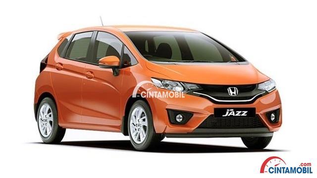 tampilan bagian depan mobil Honda Jazz 2017 berwarna orange
