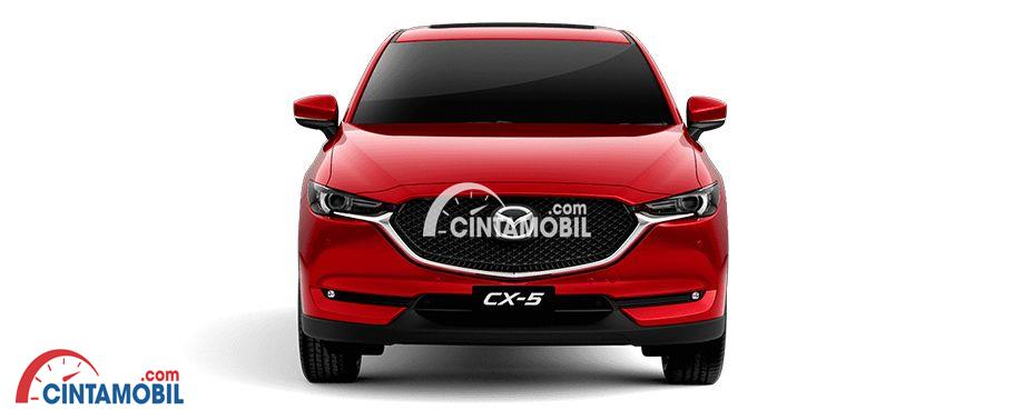 gambar mobil Mazda CX-5 2017 berwarna merah dilihat dari bagian depan