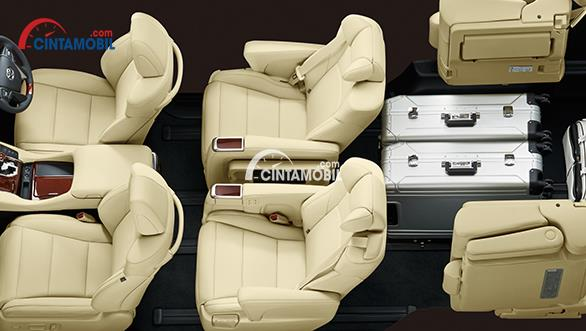 Gambar interior mobil Toyota Alphard 2017 dengan 7 sampai 8 kursi dan beberapa koper di dalamnya