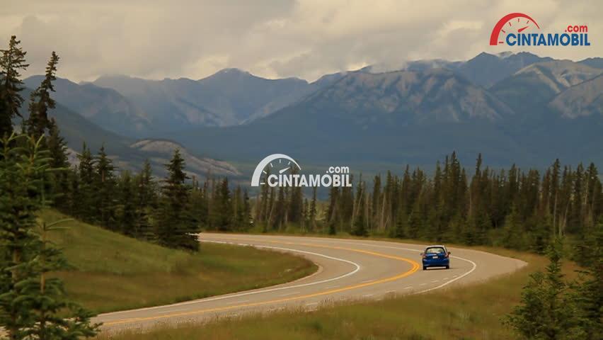 sebuah mobil berwarna biru sedang berkendara di jalan gunungan dan disampingnya ada banyak pohon