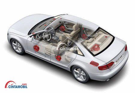 Gambar mobil Audi A4 2016 dengan fitur airbag di dalamnya