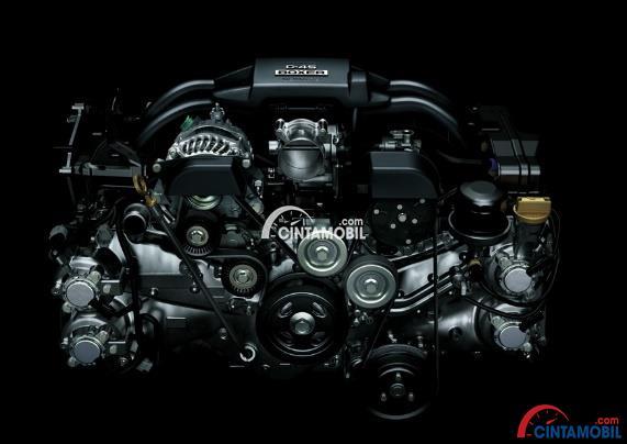 Mesin mobil Toyota 86 dengan banyak komponen di dalam