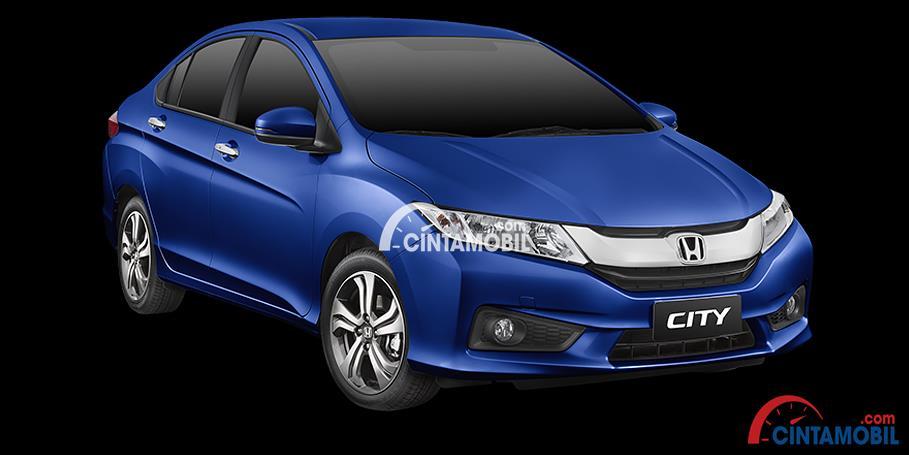 Gamabr mobil Honda City 2016 berwarna biru dilihat dari bagian depan