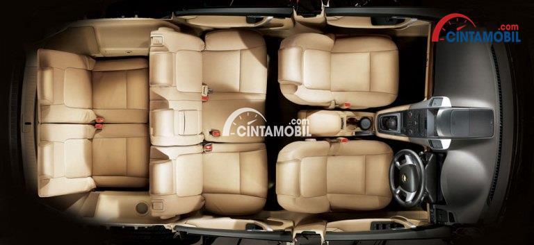 Gambar mobil Chevrolet Captiva 2010 dengan bagian kursi berwarna coklat muda