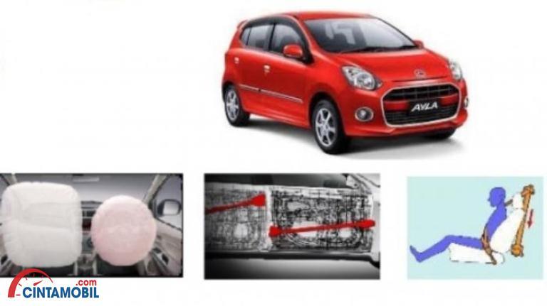 Gambar mobil Daihatsu Sigra 2016 berwarna merah di atas dan beberapa fitur di bawahnya