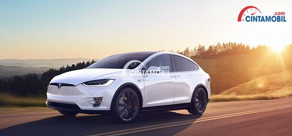 Mobil Tesla Model X berwarna putih yang sedang melaju di daerah perbukitan