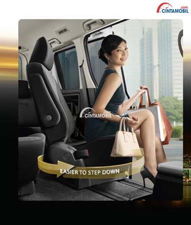 seorang wanita sedang duduk di sebuah Rotary Seat dalam sebuah mobil sedang terbuka