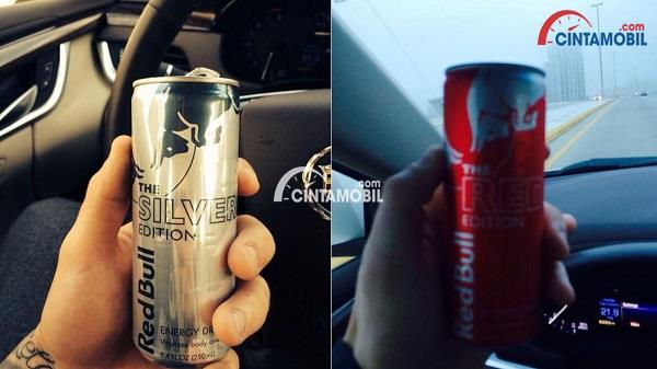Gambar yang memperlihatkan dua minuman penambah tenaga yang dibawa oleh pengemudi mobil
