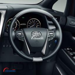 Gambar bagian setir mobil Toyota Vellfire 2018 dengan pilihan warna putih dan hitam