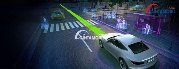 Gambar yang menunjukan struktur komputerisasi mobil AI yang sedang melaju di jalanan