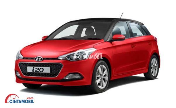 Gambar mobil Hyundai  i20 2017 berwarna merah dilihat dari bagian depan