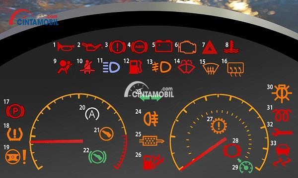 Semua sistem peringatan yang berada pada bagian dashboard mobil