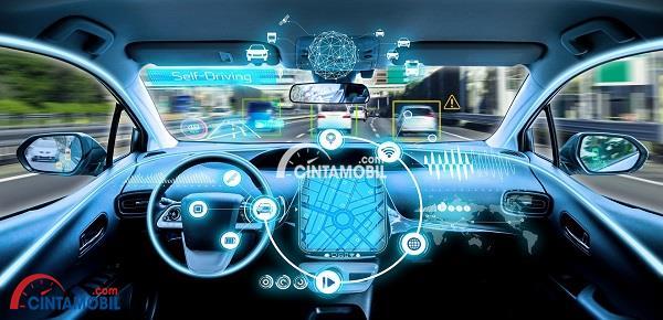 Konse mobil tanpa sopir yang memberikan beragam teknologi pengendalian pada mobil