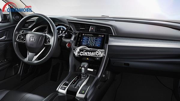 Tampilan interior dan dashboard Honda Civic 2018 dengan aksen hitam