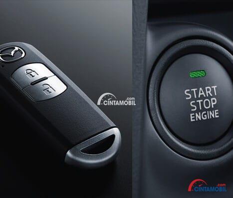 Gambar kunci mobil Mazda 2 2017 yaitu Keyless Entry