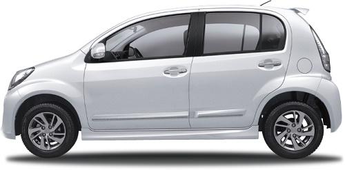 Gambar mobil Daihatsu Sirion 2013 berwarna putih dilihat dari sisi samping