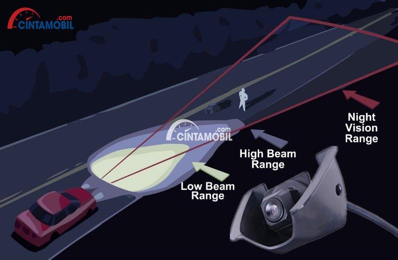 Gambar yang menunjukan perbedaan lampu mobil biasa dengan lampu mobil dengan night vision