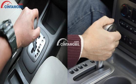 gambar tangan pengemudi memegang persneling atau gigi transmisi otomatis pada mobil
