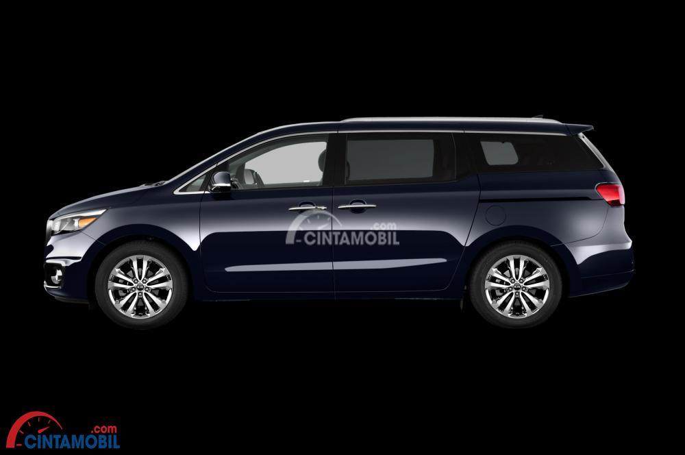 Gambar mobil Kia Sedona 2016 berwarna biru tua dilihat dari sisi samping
