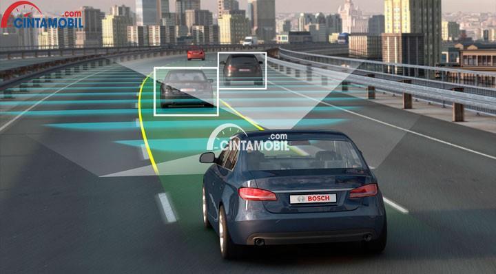 Gambar yang menunjukan ilustrasi mobil otonom yang bisa menganalisa jalan