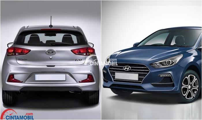 Gambar yang menunjukan dua mobil Hyundai i20 dengan tampilan depan dan belakang mobil