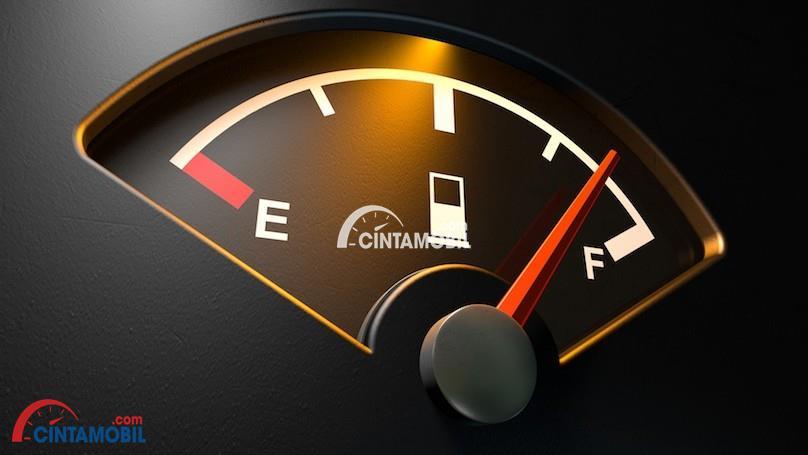 Gambar yang menunjukan bagian penunjukn pengisian bahan bakar pada mobil tua