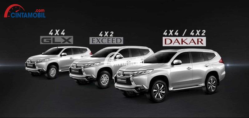 Varian-varian Mitsubishi Pajero Sport meliputi tipe GLX, Dakar 4x2, Dakar 4x4 dan Exceed