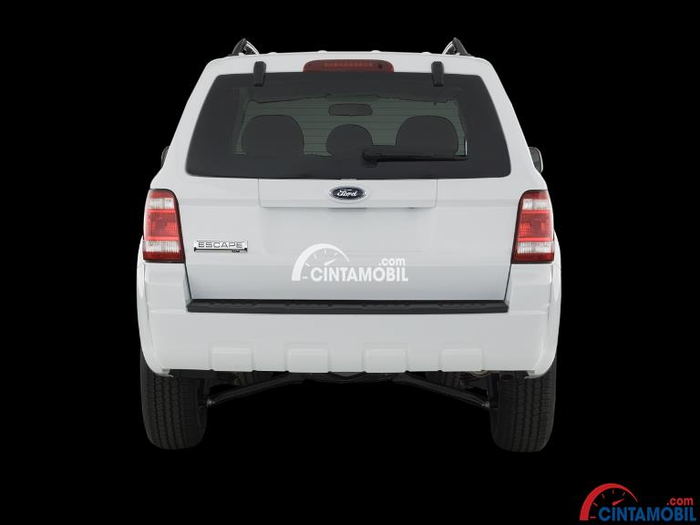 Gambar mobil Ford Escape 2008 berwarna putih dilihat dari sisi belakang