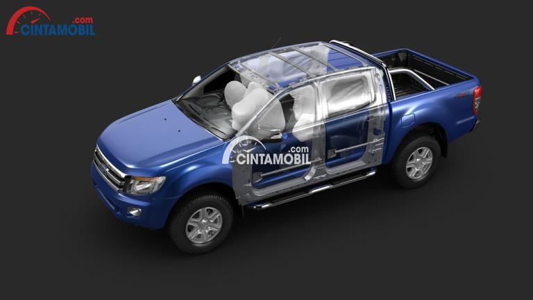Fitru airbag di mobil Ford Ranger 2012 berwarna biru