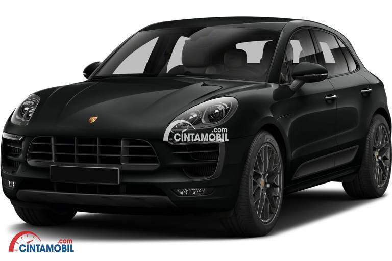 Gambar mobil Porsche Macan 2017 berwarna hitam dilihat dari sisi depan