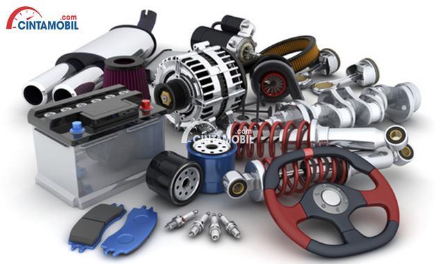 Gambar yang menunjukan beberapa bagian spare parts mobil