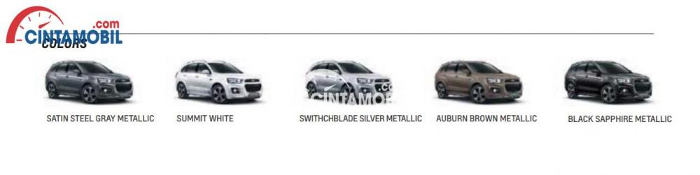 Varian Chevrolet Captiva 2016 ditwarkan ke dalam 5 pilihan warna menarik seperti Satin Steel Gray Metallic, Summit White, Switchblade Silver Metallic, Auburn Brown Metallic serta Black Sapphire Metallic