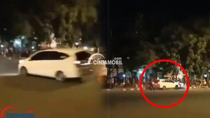 Gambar yang menunjukan mobil LCGC putih yang menabrak kerumunan di trotoar