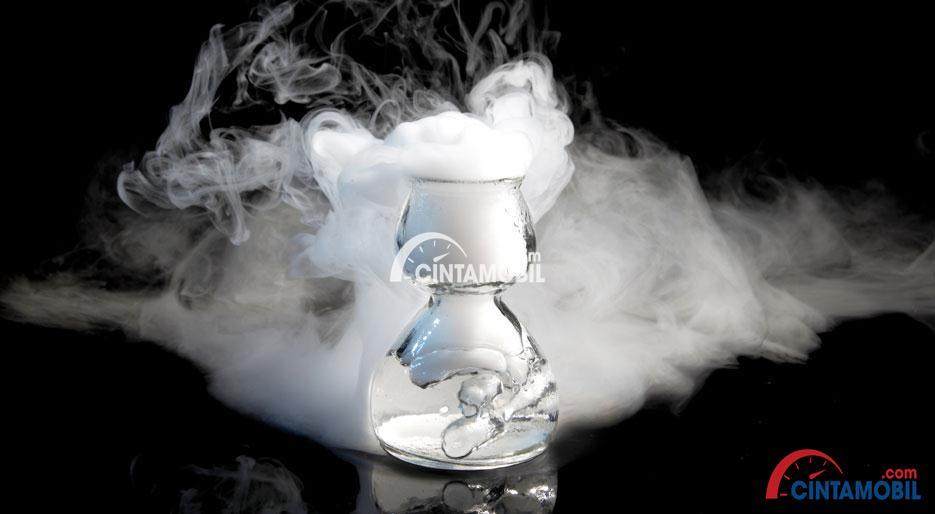 Gambar yang menunjukan bagian gas nitrogen yang berada di dalam gelas