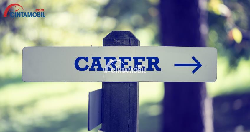 Gambar yang menunjukan papan yang bertulisan career di hutan