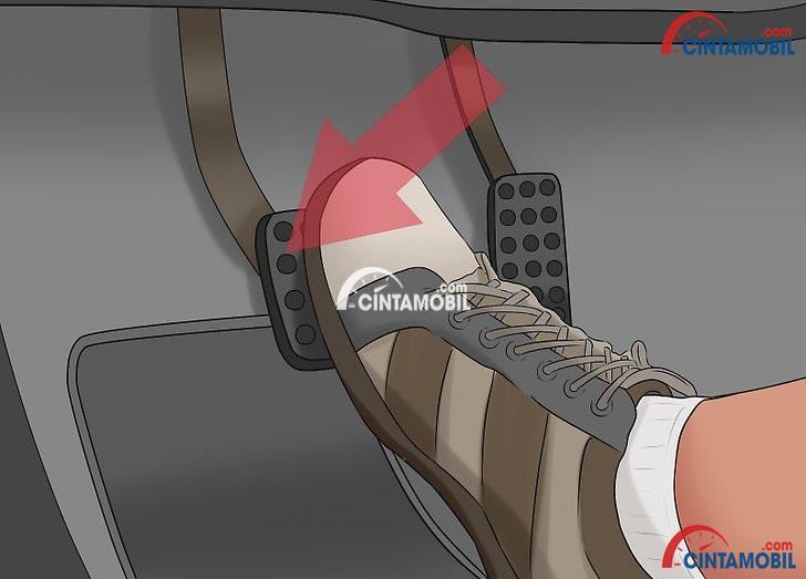 gambar ilustrasi kaki kanan yang menginjak pedal rem