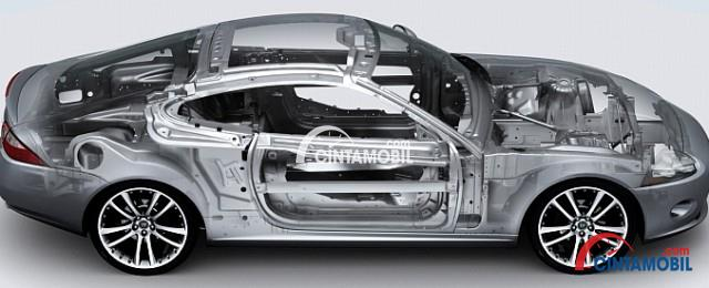 Gambar yang menunjukan rangka mobil berwarna putih yang dibuat dari bahan alumunium