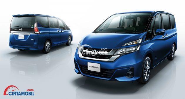 Gambar yang menunjukan mobil baru All New Nissan Serena berwarna biru yang akan diluncurkan di Indonesia