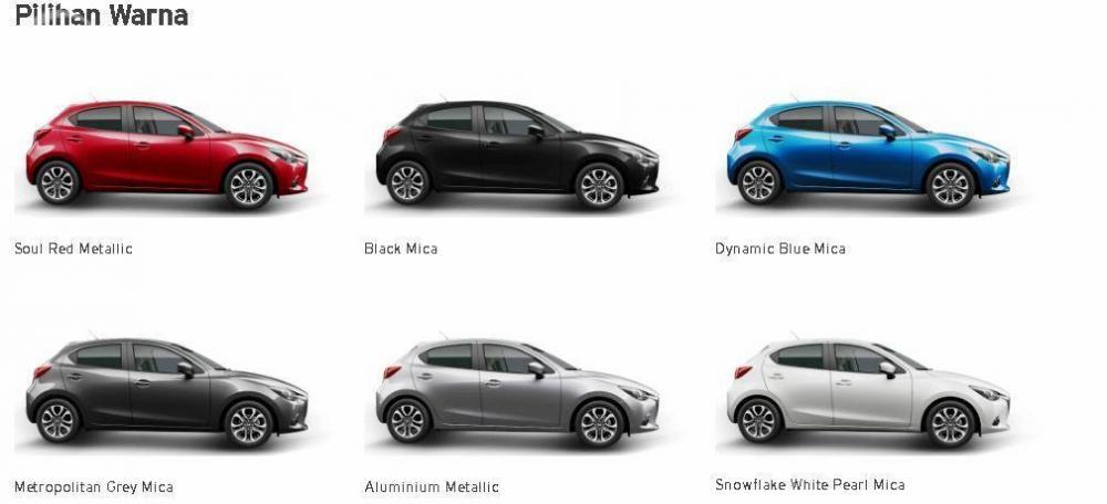 Varian-varian Mazda 2 menawarkan enam pilihan warna stylish yang dapat Anda pilih sesuai selera berkendara Anda