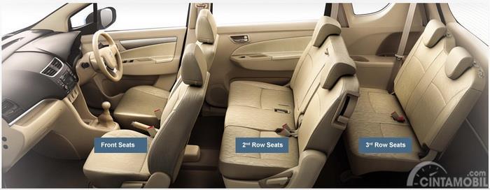 Gambar yang menunjukan bagian dalam mobil MPV dengan tujuh tempat duduk