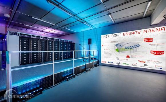 Gambar yang menunjukan baterai pada Amsterdam ArenA dengan blueprint stadion di bagian kanan