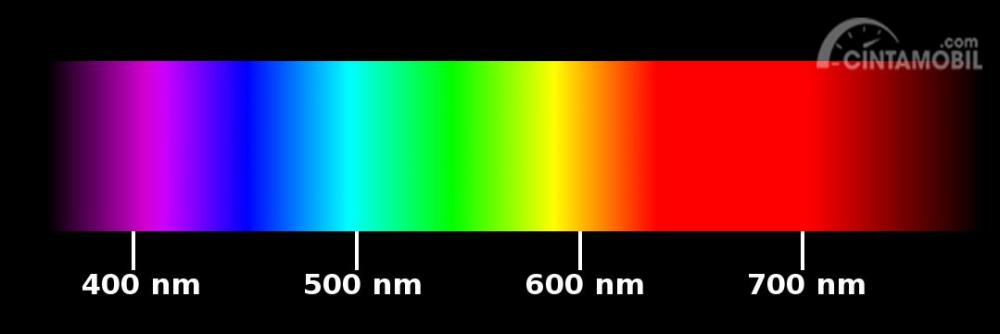 Gambar yang menunjukan urutan warna dalam spektrum cahaya nanometer