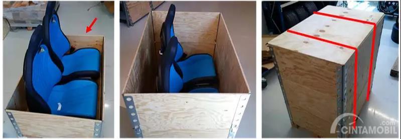Gambar yang menunjukan kursi Bugatti Chiron yang di packing dengan kayu