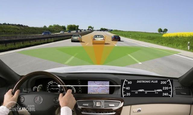 Gambar yang menunjukan simulasi kendaraan dengan fitur Adaptive Cruise Control