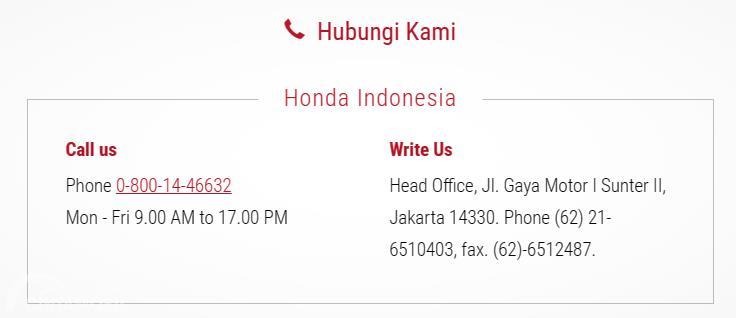 Nomor baru Honda Customer Care bisa diakses 24 jam