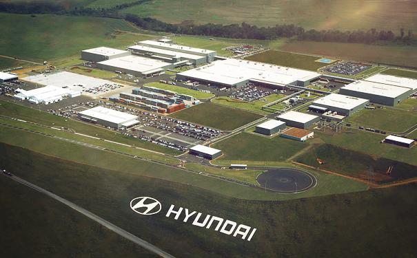 Gambar yang menunjukan pabrik Hyundai di Brasil